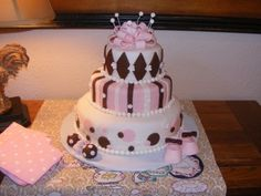 Pink and Brown Baby Shower Cake By BebesCakes on CakeCentral.com