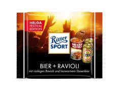 RITTER SPORT Fake-Schokolade Sorte Bier + Ravioli