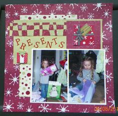Handmade Christmas Scrapbook Page:  Opening Presents