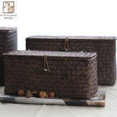 [Visit to Buy] Nazhi 3 Size European Creative See Grass Straw Handmade Woven Basket With Cover Rattan Box Bin Storage Sundry Holder Home Decor #Advertisement