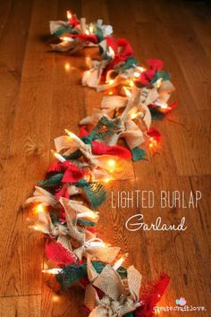 Lighted Burlap Garland - Favorite Photoz #burlap #diy #garland #christmas #red #green #holiday