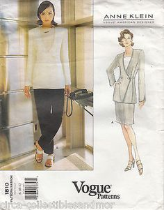 A Line Jacket Skirt Pants Semi Fitted Vogue Sewing Pattern 1810 Anne Klein Uncut
