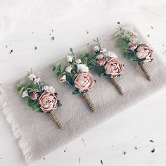 Floral boutonnieres made with blush flowers and greenery. Each boutonniere include safety pin. -------------IMPORTANT TO READ------------- Waiting list is full now. This item will be carefully made and ship on the February 9. Matching wrist corsage
