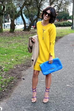 Outfits with yellow dress Shift Dresses, Look Fashion, Autumn Fashion, Fashion Outfits, Fashion Clothes, Outfits Damen, Look Chic, Mode Inspiration, Mode Style