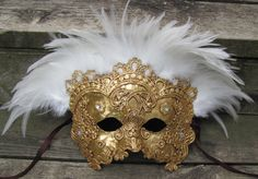 Venetian masquerade mask, gold with white feathers, Vizcondes
