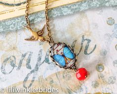 Butterfly Bird Necklace Vintage Cabochon by Liliwinklerbrides2