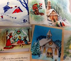 Vintage Christmas Greeting Cards Cutouts by TheIDconnection, $15.00