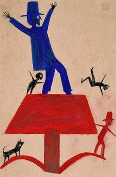 Economy of expression distinguishes the drawings Bill Traylor created on the streets of Montgomery, Alabama, during the final years of the Great Depression