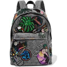 Marc Jacobs Paradise Biker embellished denim backpack (18,330 MXN) ❤ liked on Polyvore featuring bags, backpacks, accessories, bolsas, zip bag, bike bag, acid wash denim backpack, grey backpack and zipper bag