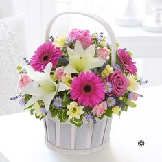 Pink And Cream Basket Arrangement Happy Birthday Flower Delivery Cards