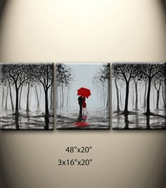 original abstract painting, kissing in rain, black white red,love couple,48x20 inch,great wedding gift
