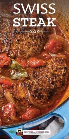 Your family will enjoy this old fashioned Swiss Steak made the classic way with cubed steak and tomatoes. It's slowly cooked in the oven until fork tender. Swiss Steak Recipes, Cube Steak Recipes, Best Beef Recipes, Grilled Steak Recipes, Beef Recipes For Dinner, Ground Beef Recipes, Meat Recipes, Cooking Recipes, Oven Swiss Steak
