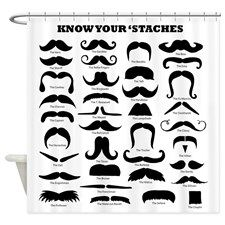 Know Your Staches Shower Curtain for