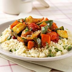 Healthy Recipe From Joy Bauer's Food Cures Parmesan Couscous and Ratatouille with Olives, Tomatoes, and Fresh Basil Couscous Salad With Chickpeas, Couscous Salad Recipes, Vegetarian Grilling, Vegetarian Dinners, Vegetarian Recipes, Cholesterol Lowering Foods, Cholesterol Symptoms, Cholesterol Levels, Mediterranean Dishes