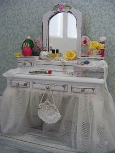 Dolls house miniatureshabby chic dressing table by juliedeighton, $62.00