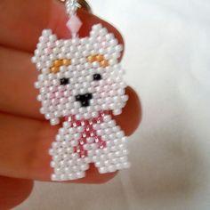 Westie Terrier Beaded Charm on Key Ring