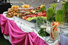Glass tables for fruit and veggies. I have used this many times. So elegant!
