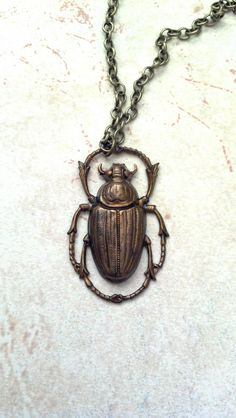 Scarab Beetle Vintage Brass Pendant.