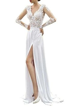 Everyouth Womens Lace VNeck Long Sleeves VBack Split Chiffon Wedding Dress White US06 ** More info could be found at the image url.
