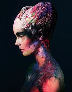 Great use of color on bare skin! Avant-Garde Alien Portraits #makeup #editorial