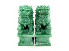 Feng Shui Fu Dogs Perros Fu La hembra sostiene una cria muetras que el macho una esfera u orbe