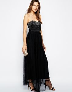 Black Embellished Sequin Liquorish Bead Detail Maxi Dress with Tulle Skirt @ ASOS $90