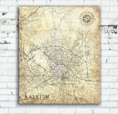 RALEIGH North Carolina Vintage map Raleigh City North Carolina Vintage map Wall Art Print poster USA retro old map United States of America