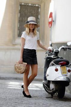 nyc summer outfits white t-shirt denim mini