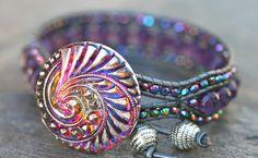 Amethyst Gemstone and Purple AB Crystal on Gray Leather by MindyG
