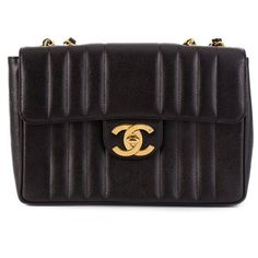 Chanel Vintage Jumbo Quilted Shoulder Bag (377,300 INR) ❤ liked on Polyvore featuring bags, handbags, shoulder bags, leather shoulder handbags, vintage purses, vintage leather shoulder bag, vintage shoulder bag and genuine leather shoulder bag