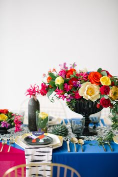 DVF Inspired Bridesmaids Party Styled | Vibrant Tablescape and Floral | Concept, Design and Planning: @colorpopevents, Photography: @brklynview, Floral: @julivaughn