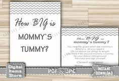 Baby Shower How Big Is Mommy's Belly Chevron Gray - Printable Baby Shower Mommy Tummy in Chevron Gray White - Instant Download - gc1 by DigitalitemsShop on Etsy