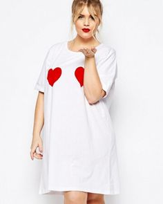 Love heart t shirt dress for women white long t shirts loose style Quirky  Fashion 0ae3dc845d5b