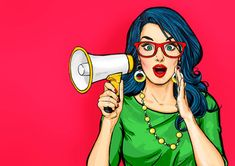 Illustration about Amazed Pop art girl in glasses with megaphone saying something. Woman with loudspeaker. Advertising poster with lady announcing discount or sale. Illustration of discount, lady, notification - 130256729 Art And Illustration, Gossip Girl, Pop Art Women, Pop Art Wallpaper, Pop Art Girl, Girls With Glasses, Art Graphique, Vintage Comics, Vintage Art