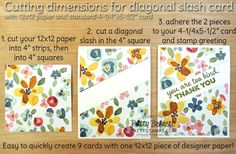 "How to cut paper for 9 Diagonal Slash note cards using one sheet of 12x12 paper and nine 4-1/4"" x 5-1/2"" cards from Stampin' UP! by Patty Bennett"