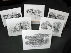 Multipack pen and ink drawing note cards thank you cards, wedding, sympathy set of six with envelopes