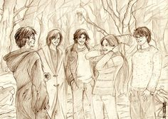 Гарри Поттер и Мародеры. © Дайлис Джин (http://d-tonks.livejournal.com/). #HP #Potter #Sirius #Lupin #Pettigrew #Marauders #Rowling