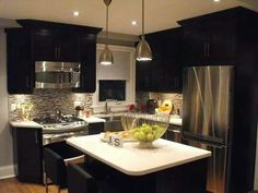 Home Design, Remodeling KITCHEN Added Floor To Ceiling Cabinets Property Brothers Design Ideas: Appealing Property Brothers Room Designs Ideas: Remodeling Or this! All I know, a kitchen remodel will be happening New Kitchen, Kitchen Dining, Kitchen Decor, Kitchen Small, Kitchen Cabinets, Kitchen Island, Cozy Kitchen, Kitchen Layout, Kitchen Black