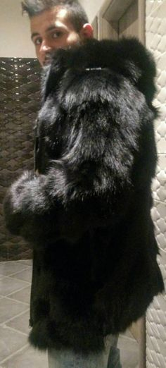 Amazing New Natural Real Mens Fur from Black Fox and leather zipper! Excellent quality, extremely light,warm and soft! You can order it with buttons also or black zipper.You can order it without the leather details on shoulders and on the sleeves.Write it in your orders details.ORDER IN