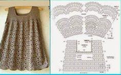 Fabulous Crochet a Little Black Crochet Dress Ideas. Georgeous Crochet a Little Black Crochet Dress Ideas. Crochet Girls, Crochet Baby Clothes, Crochet Woman, Crochet For Kids, Crochet Bebe, Crochet Tops, Newborn Crochet, Crochet Diagram, Crochet Chart