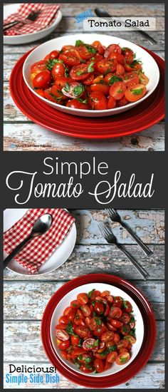 This Simple Tomato Salad will become your favorite summer side. Fresh, ripe, beautiful tomatoes don't need much to make a delicious dish. By the way, these leftovers are awesome over a salad!: