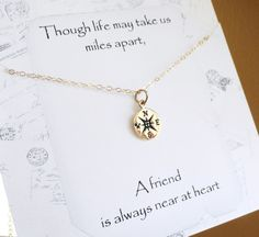 Friendship necklace, best friends gift, bridesmaid gift with message card, compass necklace, compass charm, gold charm necklace