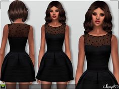 -A gorgeous skater dress that entails a sleeveless polka dot mesh bust top with  flared skirt. Team with killer heels and clutch for ultimate effect.  Found in TSR Category 'Sims 4 Female Everyday'