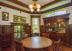 Dining Room in Historic 1910 home in Rock Island, IL. Love that leaded glass.