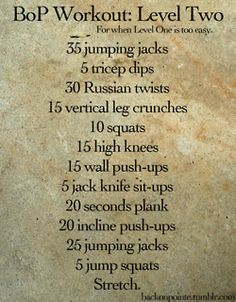 BoP Workout: Level Two
