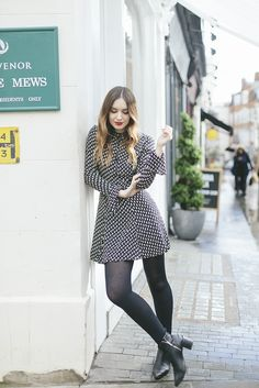 This gorgeous retro style shirt dress is the perfect choice for a fun and feminine spring style! Copy this look with tights and ankle boots or without tights and paired with sandals for a summery feel. Via Olivia Purvis. Dress: Reformation, Boots:...