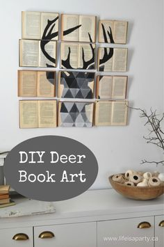 DIY Deer Book Art: how to make art with old books as the canvas.