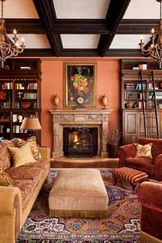 Traditional orange themed living room with coffered ceiling Victorian style chandeliers traditional rug upholstered center table antique furniture and a cozy sofa Peach Living Rooms, Antique Living Rooms, Victorian Living Room, Living Room Orange, Living Furniture, Furniture Design, Simple Furniture, Luxury Furniture, Traditional Living Room Furniture