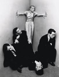 Writer, actor Miss Kay Thompson and The Williams Brothers photo by Irving Penn  NYC 1948.