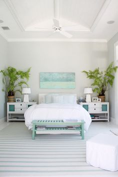 What A Serene Selection Of Colors For The Bedroom Lots Crisp White And Ultra Pale Blue With Prettiest Green Palms House Turquoise Molly Frey